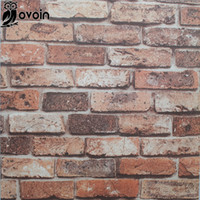 Wholesale Red Vinyl Wallpaper - Wholesale- PVC Chinoiserie Retro Sandstone Wall Brick Kitchen Wallpaper Natural Vinyl 3D Effect Red Brick Wallpaper Bathroom,Dinning Room