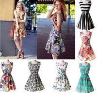 çin moda tasarımı yeni toptan satış-2015 Yeni Kadın Rahat Elbise Artı Boyutu Ucuz Çin summe Elbise 19 Tasarımlar Kadın Giyim Moda Kolsuz Summe Elbise 10 adet Ücretsiz Kargo