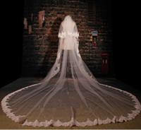 Wholesale Eyelash Lace Veil - Bridal Veils2016 Bridal Accessories new hot 350cm double net with comb eyelash lace lace stock car bride concealed long veil cheap shipping