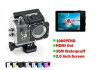 Wholesale Hdmi Car Screen - 5pcs Sport DV Waterproof Camcorders SJ4000 style D001 2 Inch LCD Screen HDMI Action Camera 30M SJcam Helmet Car DVR 6 colors choice