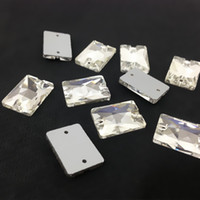 Wholesale Glass Beads For Sewing - Flatback Rectangle Sew On Stone Crystal Clear 2holes 8x10,10x14,13x18,18x25,18x27 Sewing Glass Crystal Beads For Dress   Jewelry