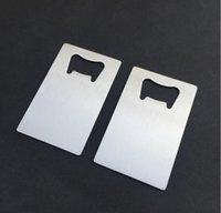emballage de poly-sac achat en gros de-Freeshipping Polybag Emballage Taille Portefeuille En Acier Inoxydable Carte De Crédit Décapsuleur