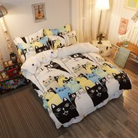 Wholesale Twin Cotton Quilts - Wholesale- Autumn New Havppy Blck Cat Polyester Fiber Cotton Soft Bed Sheets Quilt   Duvet Cover Pillowcase King Queen Full Twin 4pcs