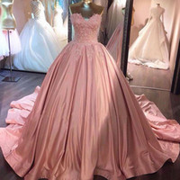 Wholesale Colored Plus Wedding Dresses - 2017 Fashion Colored Blush Pink Ball Gown Wedding Dresses Sweetheart Sleeveless Lace Appliques Colorful Bridal Gowns Custom Made