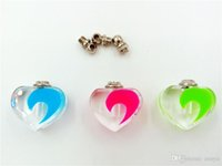 Wholesale Perfume Classic Bottles - 10pcs lot heart noctilucent illuminant in dark classic Crystal perfume oil bottle glass vial necklace pendant charms with screw cap