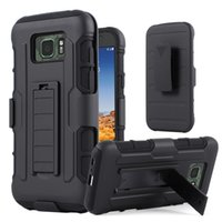 Wholesale Hybrid Galaxy S4 - For Galaxy S7 S6 S5 S4 Active Mini Future Armor Impact Hybrid Hard Phone Case Cover + Belt Clip Kickstand Stand Samsung G870 G870A