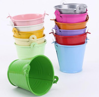 Wholesale Tinplate Wedding Candy Boxes - 10pcs Colorful Mini Metal Bucket Candy Favours Box Pail Wedding Party Souvenirs Gift for Guest Tinplate 3 Size Option Wholesale