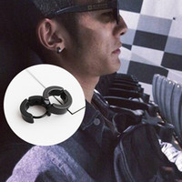 Wholesale Male Earring Pierce - Fashion Silver Black ear ear ring punk buckle ear clip earrings titanium non pierced earrings fake female male general