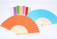 Wholesale Favor Express - Express Free Shipping 500pcs Personalized Silk wedding hand fans silk wedding fans
