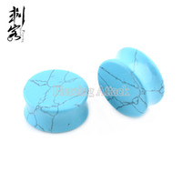 Wholesale Double Flared Plugs - New Arrival Turquoise Oval Ear Tunnels Double Flare Plugs Natural Stone Ear Plugs Free Shipping Wholesale Lot of 9pcs