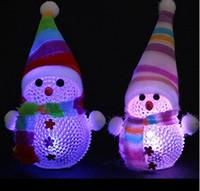 Wholesale Color Changing Led Christmas Tree - Color Changing LED Snowman Christmas Decorate Mood Lamp Night Light Xmas Tree Hanging Ornament HJIA751