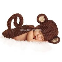 Wholesale Newborn Knitted Monkey Hats - Newborn Infant Monkey Brown Hat Cape Baby Handmade Knit Crochet Baby photo props Outfit Costume animal backpack