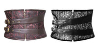 Wholesale Black Corset Underbust Buckle - Women Zipper Brocade steampunk waspie underbust corset has an attractive black&brown pattern with buckle straps S to 2XL