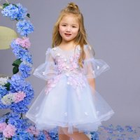 Wholesale Light Blue Dresses For Weddings - SSYFashion New Lace Flower Girl Dresses for Wedding Sweet Light Blue Appliques Short Puff Sleeve Children Princess Party Gowns