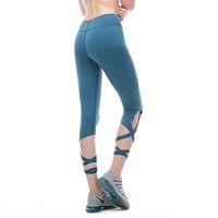 ingrosso collant da ballo di yoga-Donne Fitness Yoga Leggings Cross Bandage Balletto Dance Sport Leggings Running Tights Womens Yoga Pants