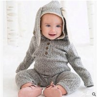 Wholesale New Fashion Baby Deers - Cartoon Baby Boys Romper Autumn 2016 New Deer Bunny Style Kint Toddler Onesie Fashion Rabbit Ears Long Sleeve Infant Jumpsuit 6829