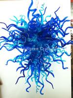 luz colgante de cristal azul moderno al por mayor-C94-New Designer Blue Murano Glass Colgante Chandelier Light Style Art Decor Hand Blown Hanging Modern Crystal Lamparas colgantes