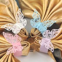 Wholesale Napkin Rings Wedding Bridal - 120pcs laser Cut Hollow Small Butterfly Paper Napkin Rings Wraps for Bridal Shower Wedding Party Favors Birthday Kitchen Table Home Decor