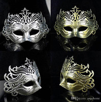 Wholesale Mardi Gras Wedding Crowns - Vintage Ancient Roman Gladiator Crown Mens Mask Mardi Gras Masquerade Halloween Venetian Costume Party Masks Golden Silver Mask