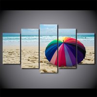 Wholesale Umbrella Posters - 5 Pcs Set Framed Printed Beach Painting Rainbow Umbrella Poster Modern Home Wall Decororation Print Painting Canvas Wall Picture