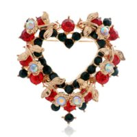 Hot Selling Gold Tone Colored Stunning Austria Cristaux Broche Coeur Pour Noël Exquise Filles Noël Coeur Collier Pins Broches