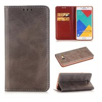 Wholesale Crazy Horse Skin Magnetic - luxury Magnetic Crazy horse wallet card holder flip leather case cover skin shell for Samsung Galaxy A5 2016 A510 fashion case