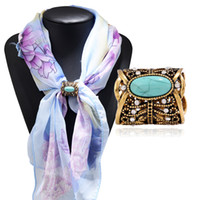 Wholesale Vintage Buckle Turquoise - Fashion Accessories Bohemia Vintage Bronz Silver Plated Turquoise Brooch Scarf Clips Lapel Pins Scarf Buckle Jewelry SL89