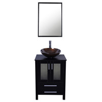 Wholesale Bathroom Tempered Glass Vessel Vanity - 24 inch Bathroom Vanity Combo Modern MDF Cabinet with Vanity Mirror Tempered Glass Counter Top Vessel Sink with 1.5 GPM Faucet and Drain