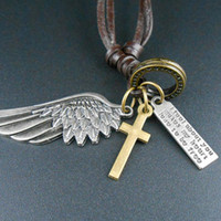 Wholesale Mens Jewelry Wings - Brand New Creative Mens Womens Jewelry Vintage Angel Wing Leather Necklace Charms Pendant 1 Pc Free Shipping[GE04347]