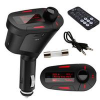 cartes sd mmc achat en gros de-Lecteur de couleur rouge rétroéclairage de voiture MP3 transmetteur FM sans fil avec USB pour fente pour carte SD MMC Drop Shipping en gros