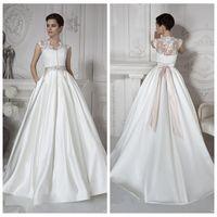 Wholesale Daria Wedding Dress - 2016 Vogue Top Lace A Line Wedding Dresses Satin Sweep Train Pleated Bridal Gowns Vogue Design 2016 Daria Karlozi