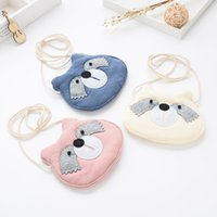 Wholesale Purse Korea Cute - Cute Korea Style Little Owl Head Kids Bag 3 Colors Cotton Kids Messager Bag Cartoon Kids Messager Wallet Lovely Exchange Purse