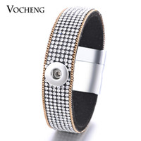 Wholesale Fabric Clasps - VOCHENG NOOSA Soft Fabric 1-Snap Bracelet Inlaid Crystal&Gold Plated Chain 12mm Magnet Clasp Interchangeable Button Jewelry NN-414
