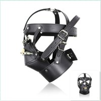 Wholesale Sex New Dress - New Black Leather SM Slave Sex Toys Head Mask for Male Adult Sex Product Cosplay Dress Men Gays Fetish Bondage Head Hoods