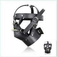 Wholesale male sex toys masks - New Black Leather SM Slave Sex Toys Head Mask for Male Adult Sex Product Cosplay Dress Men Gays Fetish Bondage Head Hoods