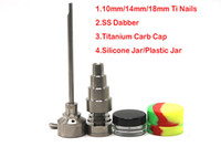 Wholesale Glass Jars Free Shipping - 2017 Titanium Nail Kit GR2 Domeless 6 in 1 Bong Tool Set Carb Cap Dabber Slicone Jar For Glass Water Pipes Free Shipping
