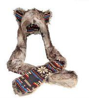 eşarp pençeleri toptan satış-Taklit Kürk Hayvan Kulaklar Şapka Eldiven Eldivenler Eşarp Snood Hood Kurt Paws Cadılar Bayramı Kostüm Büyük Hediye Polyester Caps