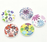 Wholesale Button Wood 18mm - 2015 NEW 100 Mixed Multicolor Flower 2 Holes Round Wood Sewing Buttons 18mm B17589 HOT sale New Arrival M65062