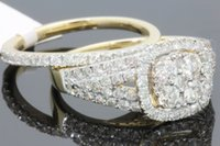 10K YELLOW GOLD 1.67 WOMENS REAL DIAMOND ENGAGEMENT ANELLO FEDE BAND SET