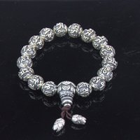 Wholesale Religious Sterling - Authentic 999 Sterling Silver Religious Scripture Beaded Bracelet Men Bracelets China Style Silver Bracelets Wholesale YSB005