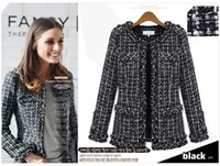 Wholesale Ladies Wool Blend Coats - European and American fashion brand women's autumn long-sleeved cardigan jackets Black and white plaid Woolen coats Ladies Slim overcoats