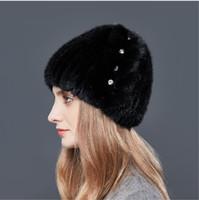 Wholesale Rhinestones High Quality - LUCKYFUR Fashion Rhinestones Mink Fur Winter Hats For Women Leaves Shape High Quality Fur Hat Female 2017 Warm Luxury Beanies