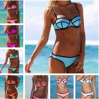 Wholesale Cheap Blue Bras - Hot sell cheap swimsuits womens bra set, sexy bikini suit, woman hit color fashion swimwear Wholesale and Retail
