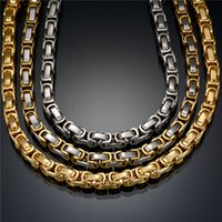 Wholesale Byzantine Steel Chain - Wholesale Fashion Never Fade Stainless Steel Necklace Byzantine Gold Silver Chain Statement Necklace For Party Gift