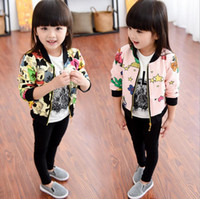 Wholesale Child Panda Jacket - New Autumn Girls Cotton Jacket Kids Cartoon Star Panda Printed Outwear Baseball Uniform Coat Children Cardigan Jackets Coats 12152