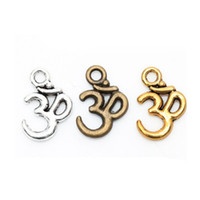 Wholesale Wholesale Sports Signs - Tibetan Silver Retro Yoga Sign Buddha 3D Charm Pendants Findings For DIY Jewelry Making Bracelets 16*10mm 100 pcs lot