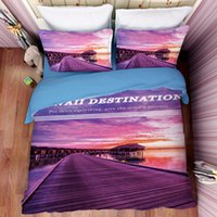 Wholesale King Size Bedding Collections - Hawaii Destination Purple Bedding Set Scenic Collection Duvet Cover Bed Sets USA Twin Full Queen King Size 3pcs Bedding Supplies