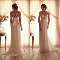 Wholesale Cheap Anna Campbell Dresses - Anna Campbell Cheap Chiffon Wedding Dresses Bridal Gowns Modest Crystal Beaded Short Cap Sleeves A Line Empire Maternity Beach Wedding Gowns