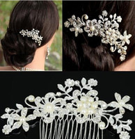 Wholesale Platinum Hair Accessories - Fashion Bridal Wedding Tiaras Stunning Rhinestone Fine Comb Bridal Jewelry Accessories Crystal Pearl Hair Brush Free Shipping