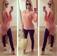 kuş tüyü gömleği toptan satış-Avrupa moda boncuk Şifon düzensiz Hi-Lo Swallowtail bluzlar artı boyutu yaz bahar kadınlar Açık kollu uzun gömlek tops ceket kıyafetler
